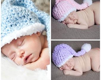 Twin Pastel Stocking Hats Newborn Photo Prop Blue Pink Purple Photographer Deal Crochet Long Tail Elf Cap