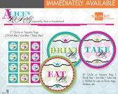 Alice in Wonderland Inspired Tea Party Printable Favor Tag - Eat Me - Drink  Me - Take Me - DIY Print - Alice's Tea Party - Instant Download