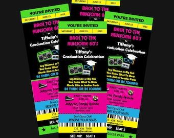 Printable - 80's Graduation Party  -  Ticket Invitations Custom Personalized