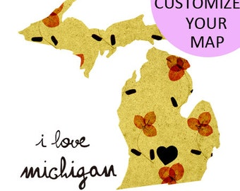 Michigan Map Illustration size A4 (11,8x8,3 inches)