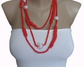 Red  Cord Necklace Bracelet  Crochet Jewelry whit Heart Beads, Girl, Teen, Woman, Crazy