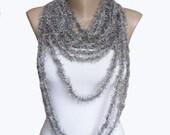 WINTER SALE - Dark silver Crochet Scarf / Necklace - Chain Scarf - Crochet  Necklace- Crochet scarf - Crochet Jewelry