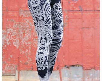 Clearance - Filigree Art Nouveau Leggings by Carousel Ink - Black Tights - Printed Womens Legging - LARGE