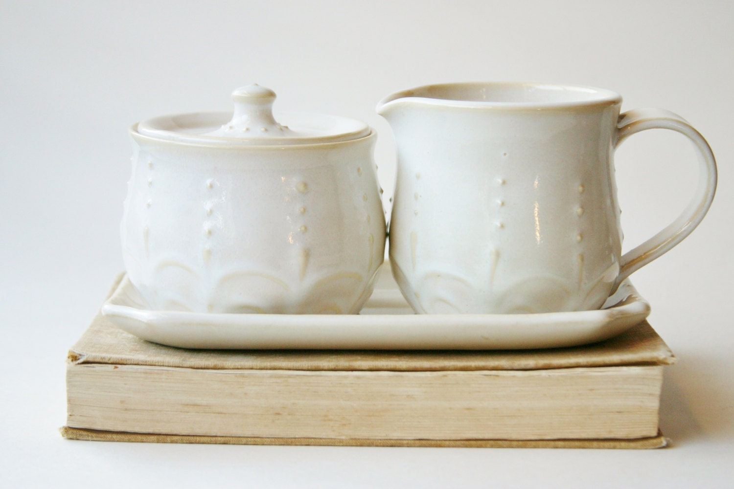 Porcelain Sugar and Creamer Set Creamy White by BackBayPottery