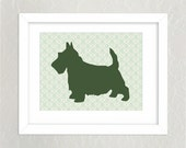 11 x 14, DIY, Scottish Terrier Dog Art Print - Sage Green, Damask - Printable Artwork - digital file