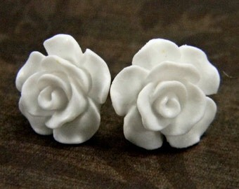 Winter White Earrings  14mm Matte Rose Camellia Titanium Stud Earring Pair  Hypoallergenic Minimalist Jewelry
