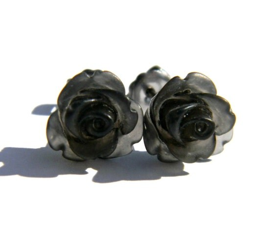 Matte Black Earrings  10mm Translucent Frosted Rose Cabochon Titanium Stud Earring Pair  Hypoallergenic Minimalist Jewelry