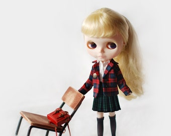 Miss yo school uniform jacket for Blythe doll - doll outfit - Red Checker
