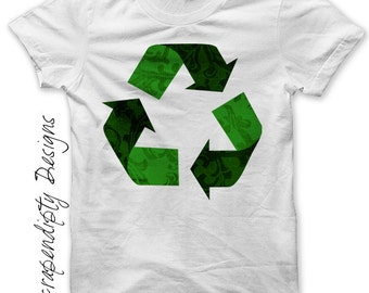 Recycle Iron on Shirt PDF - Earth Day Iron on Transfer / Recycling Womens Tshirt / Kids Boys Clothing Top / Girls Hippie Baby Clothes IT98-P