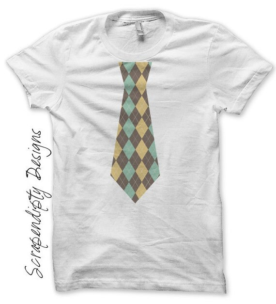 Baby Boy Tie Iron on Transfer - Blue Tie Iron on Shirt PDF / Kids Boys Clothing Shirt / Argyle Tie Design / Cute Baby Clothes IT92B-R