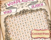 Alice in Wonderland WORD SEARCH, party decoration,  digital party printable, instant download party game