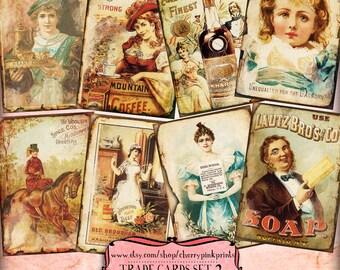 Vintage Advert ATC Cards TRADE CARDS  digital collage sheet paper printable sheet, printable victorian images,digital download