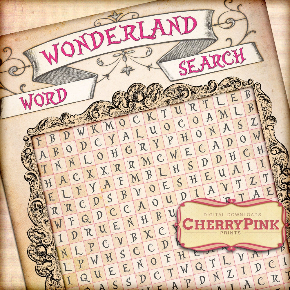 alice in wonderland word search party decoration digital