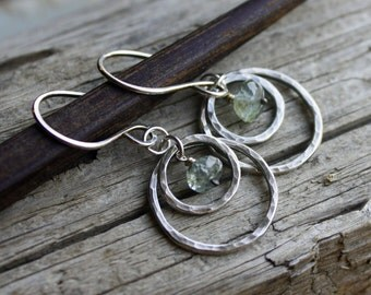 Hammered Silver Concentric Circle Earrings- Moss Aquamarine Earrings, Double Hoops