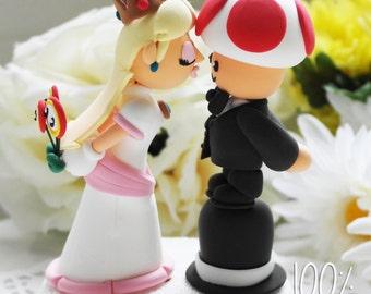 Custom Wedding Cake Topper - Princess Peach and Toad