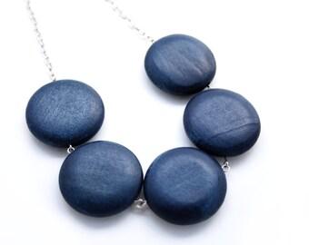 Navy Geometric Necklace - Navy Necklace - Navy Wood Bead Necklace - Marine Jewelry - Minimalist Jewelry - Marine Necklace - Chunky Necklace