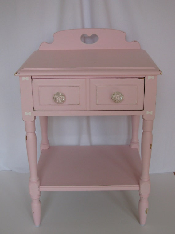 Pink Bedside Table: Pink Shabby Chic Bedside Table Rose Glass Drawer Knobs