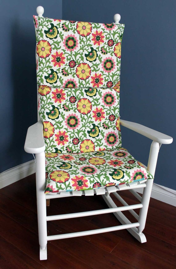 ON SALE - Rocking Chair Cushion, Pink Green Floral Stripe
