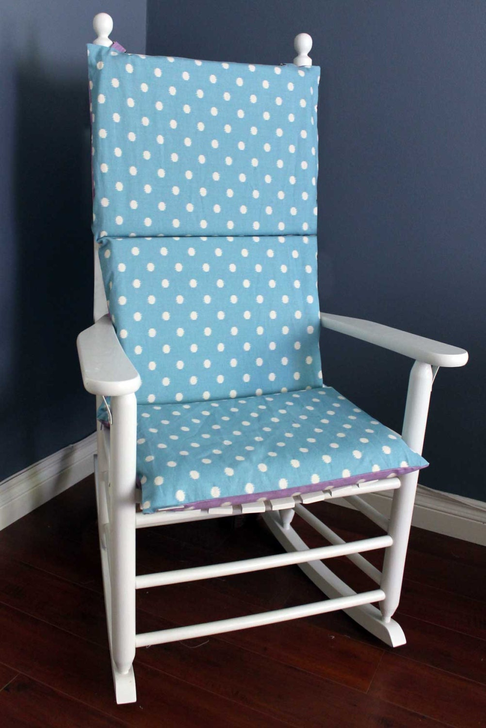 Rocking Chair Cushion Polka Dot Lilac Blue