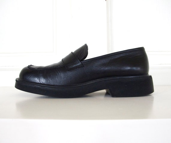 90s black leather loafers slip on shoes s