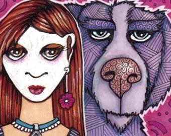 Original ACEO Dog and Mime Girl Colorful OOAK Illustration