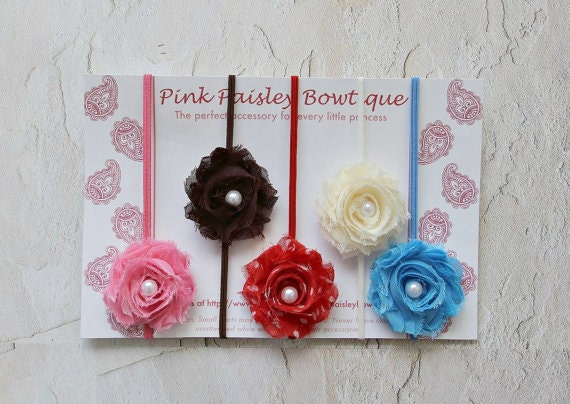 Set of 5 Baby headband set. Shabby chic baby headband set. Baby bows. Infant Headband. Flower Headband. Baby Hair Accessories