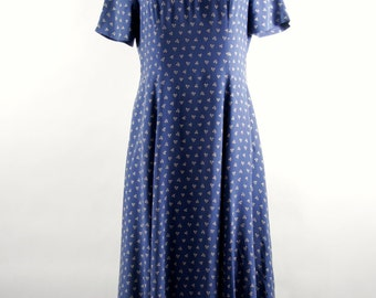 Vintage Silk Floral Print Maxi Dress by Laura Ashley circa 1990s in Grayish Medium Blue & Beige. Size 8