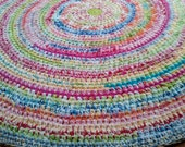 Custom Order Five Foot Confetti Cottage Rug, Cotton Round Rug, Area Rugs, Area Rug, Large Area Rug