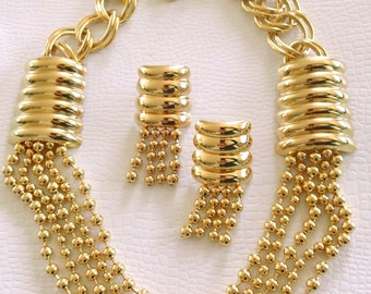 Chain Statement  Necklace & Earring Set Striking Modern Fashion Jewelry Accessory