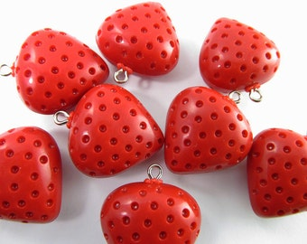 8 Vintage Lucite Strawberry Charms Pd443