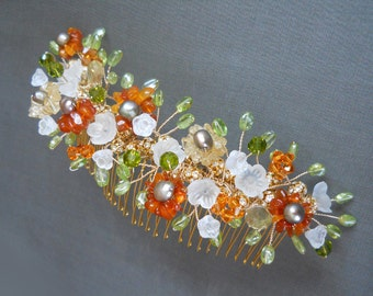 Bridal comb, Bridal gemstone hair comb, Wedding hair comb, Swarovski crystal and gemstone hair comb