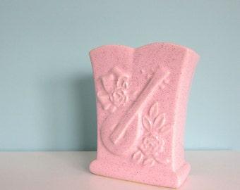 Vintage Pink Vase, Pretty Pink Vase, Pink Mid Century Vase, Kitschy Pink Vase, Lute, Mandolin, Roses, Rose Vase, Music Themed Vase