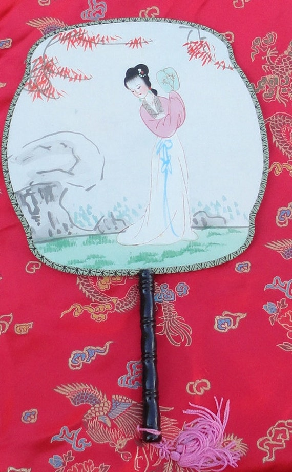 Vintage mid century japanese asian geisha by cherryvalleyvintage - Japanese paddle fan ...