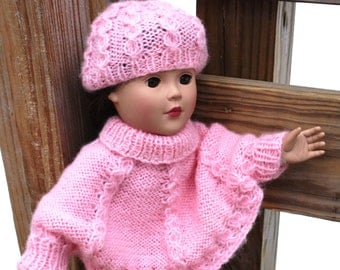 "Pattern for 18"" doll, Cable Sweater and Hat Set,  written pattern PDF format"