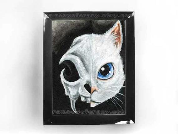 White Cat Print, Cat Skull Art, Blue Eye Cat, 8x10 Wall Art, Goth Artwork, Animal Illustration, Black and White Picture, Halloween Decor