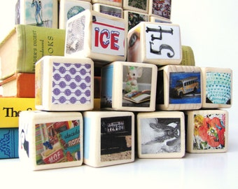 Large Set of Wooden Blocks. Decoration. Unique baby Shower Gift. Hipster. MOD. Upcycled Toy. Children. One of a Kind. set of 25 blocks.