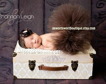 Sweet Cocoa Couture Tutu Newborn Tutu Custom Made With Matching Vintage Style Flower Headband Stunning Newborn Photo Prop