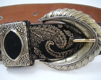 Vintage Leather Belt by Leatherock, Black Suede with Gold Stamping. FREE Shipping