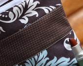Brown, Ice Blue and White Damask Organizer Pouch