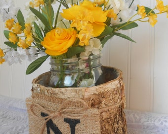 BURLAP WEDDING banner, birch bark covered vase pot, Bride and Groom initial, wedding flowers