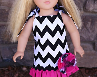 """Pink and Black Chevron Ruffle Dress for 18"""" Dolls-Fits American Girl, Journey Girls and Madame Alexander Dolls"""