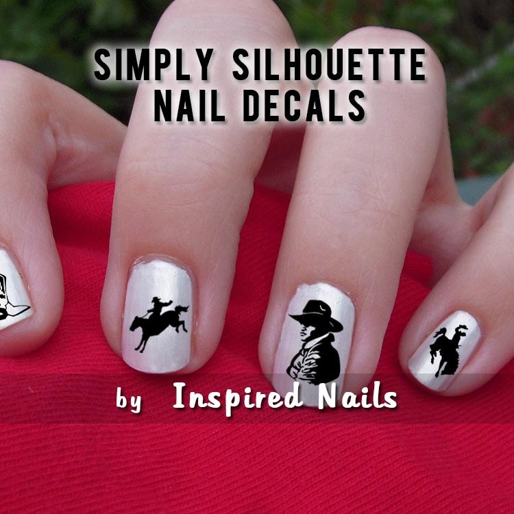 Western Nail Art: Western Cowboy Nail Decals Black And Clear Simply Silhouette