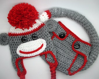 Diaper Cover & Hat, Sock Monkey, Baby Shower Gift, Sock Monkey Gift Set, Sock Monkey Hat, Crochet Hat Set, Baby Photo Prop