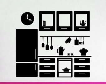 Kitchen Interior, Clock, Dishes, Cupboard, Refridgerator, Refer Vinyl Decal, Sticker, Wall Decor, Playroom, Play House, Unique, Pretend Oven