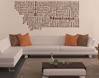 Montana Word Cloud, Helena, Wall Art, Montana Decal, State, Vinyl Wall Lettering, State Art, Wall Decal, Home Art, Office Decor