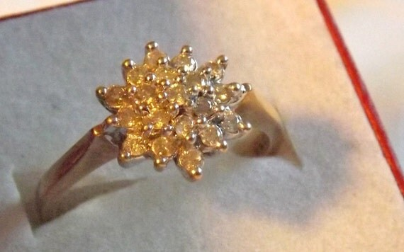 Vintage Diamond Cluster Ring/ Engagement/Right Hand/.33 Carats/ 9K Yellow Gold
