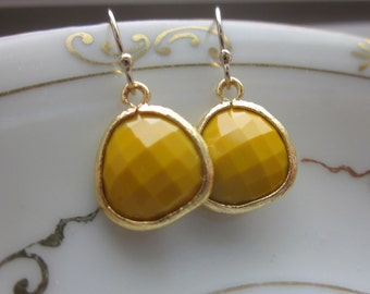 Mustard Yellow Earrings Gold - Glass Earrings - Bridesmaid Earrings - Bridal Earrings - Wedding Earrings