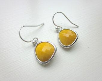 Mustard Yellow Earrings Silver - Glass Earrings - Bridesmaid Earrings - Bridal Earrings - Wedding Earrings