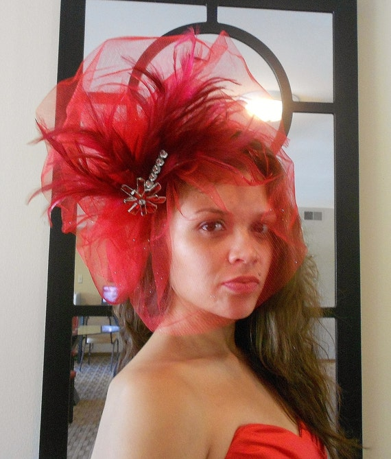 Fascinator Fan-Red tulle Bubble Feather Fascinator-Womens Hair Fascinator With Feathers and Gems