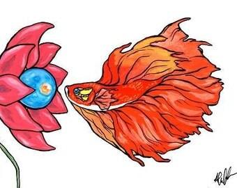 "Postcard - ""Red Flower"""